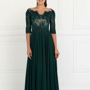 Illusion Short Sleeves Long Evening Dress GL1528